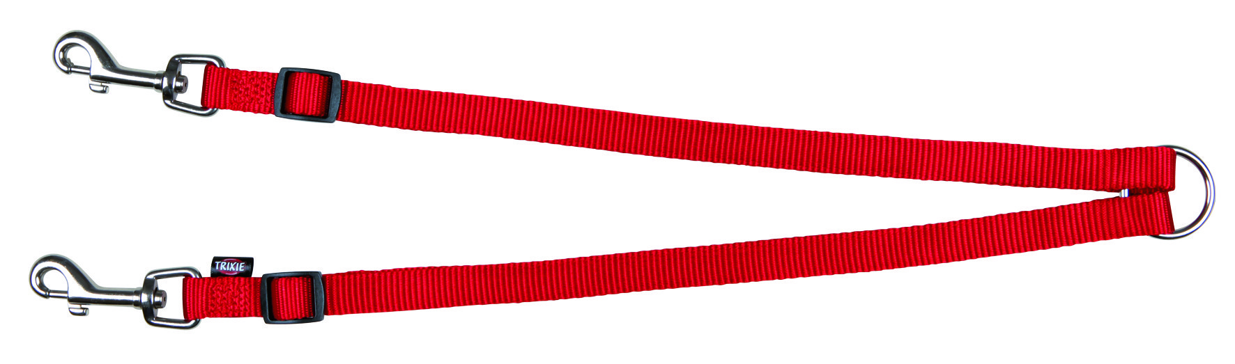 Koppel aus Nylon für 2 Hunde 40-70cm 15mm rot Bild 1