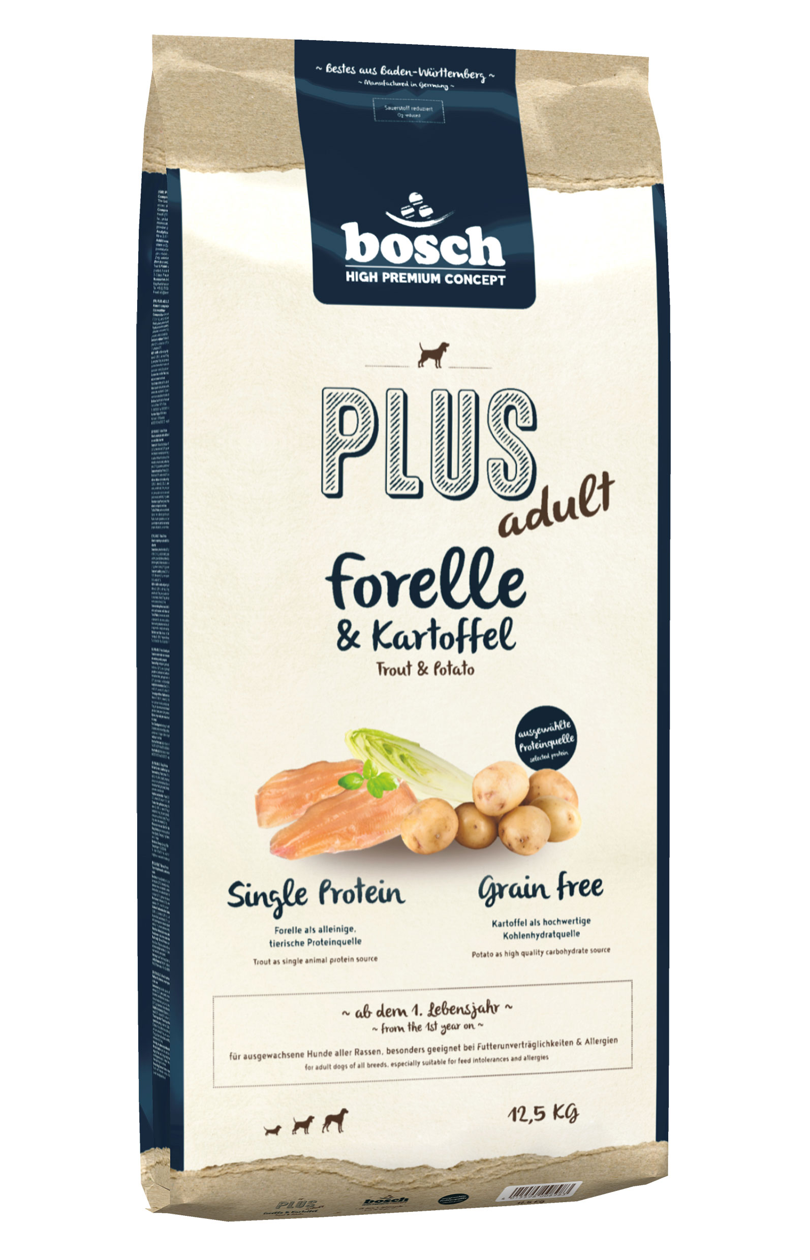 hundefutter trockenfutter bosch plus forelle 12 5kg. Black Bedroom Furniture Sets. Home Design Ideas