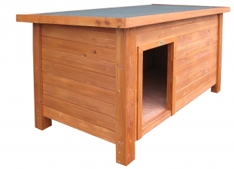Hundehütte Habau Flachdach mit Isolierung 122x77x86cm Bild 1
