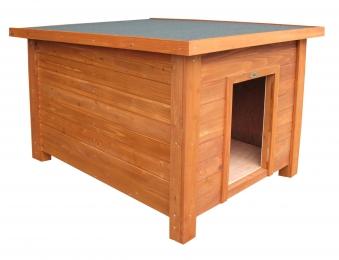 Hundehütte Habau Flachdach mit Isolierung 82x107x86cm Bild 1