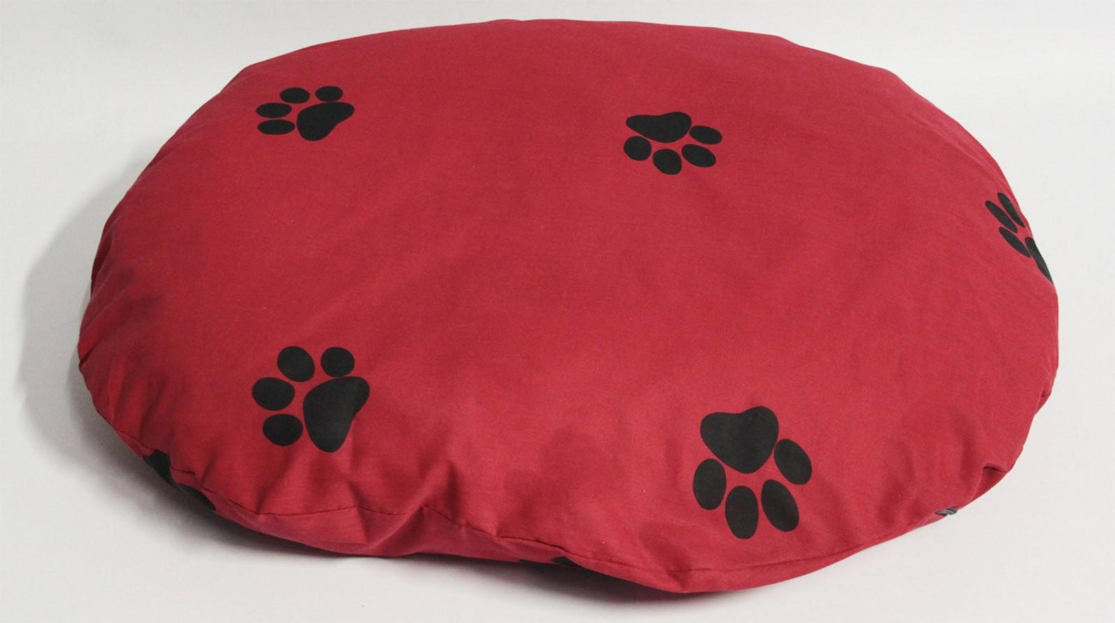 Hundebett / Hundekissen Beo 75x60x10cm oval M322 rot / grau Bild 1
