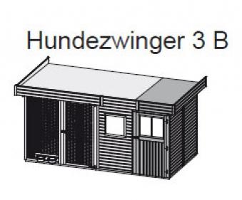 Hundezwinger 3 B 19mm WoodFeeling mit Abstellraum natur 404x205cm Bild 2