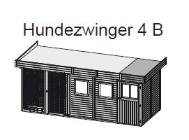 Hundezwinger 4 B 19mm WoodFeeling mit Abstellraum natur 505x205cm Bild 2