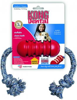 Kong Dental Hundespielzeug Größe S mit Tau zahnpflegend rot Bild 1