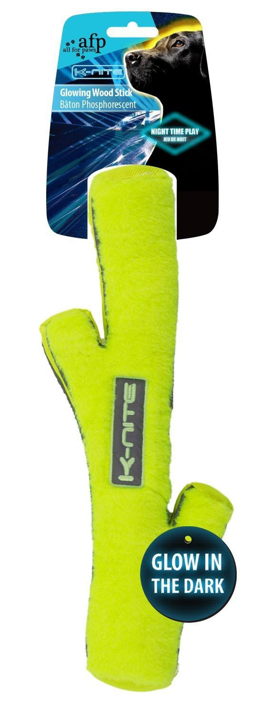 Hundespielzeug K-Nite Glowing Wood Stick neongelb 34cm Bild 1