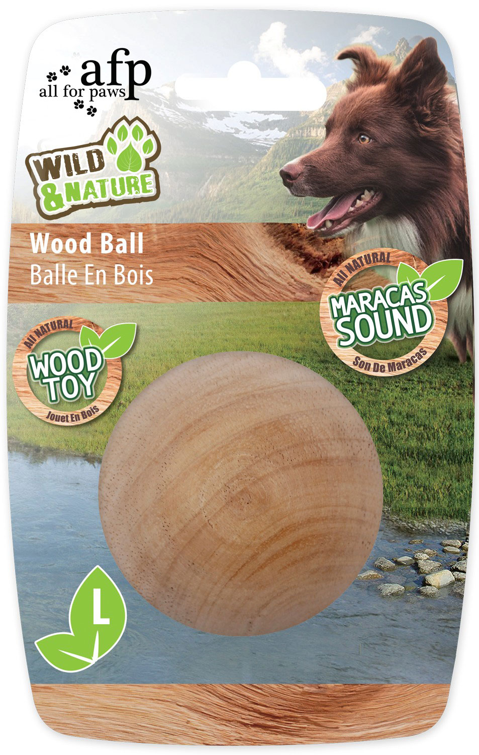 Hundespiezeug W&N Maracas Wood Ball Large Ø 7,5 cm Bild 1